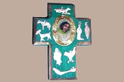 Handmade Small Painted Cross with Angel Centerpiece and Milagros