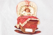 Little Baby in a Pink Cradle Large Die Cut Scrap