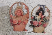 Set of 2 Die-Cut Victorian Girls in Baskets