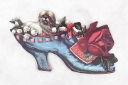 Die Cut Dog in Victorian Shoe