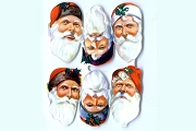 Reproduction Chromolithograph Embossed Die-Cut Reliefs - Small Santa Heads (Small Sheet of 6)