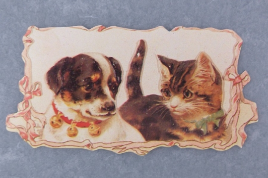 Victorian Cat & Dog Die Cut Tag