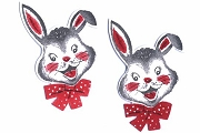 Vintage Die-Cut Set of 2 Happy Bunnies