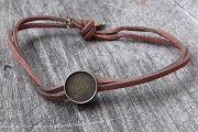Adjustable Brown Suede Bracelet With 12mm Round Bronze Setting