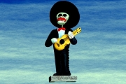 Day of the Dead Figure - Man in Black Suit with Guitar