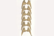 Sheet of 6 Pairs of Golden Dresden Angel Wings (4.5 x 5 cm)