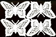Lacey & Delicate White Matte Butterfly Dresdens - Package of 4