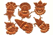 Sheet of 6 Shiny Copper Clown or Jester Dresden Motifs