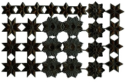 Sheet of 26 Shiny Black Miniature Star Ornament Dresdens