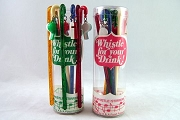Original Package of 8 Vintage Whistle for your Drink Swizzle Sticks