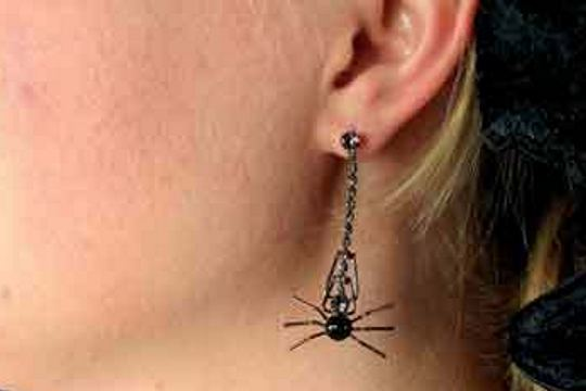 Arachnid's Earrings - Elegant Spider Drop Earrings