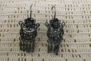 Oxidized Sterling Silver Intricate Chandelier Earrings