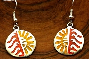 Artsy Silver Inlaid Hopi Style Sun Earrings