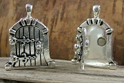 Charming Antiqued Silver Castle Fairy Door Locket