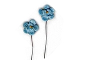 Vintage Hard Plastic Blue Flower Components on Wire Stem