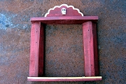 Hand-Made Recycled Rejas Frame in Brick Red Featuring a Skull Concha and Golden Trim