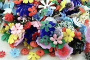 Small Grab Bag of 10 or More Mixed Vintage Plastic Flower Parts & Pieces