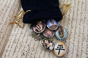 Grab Bag of 5 Vitreous Enamel Pendants in Velvet Drawstring Bag