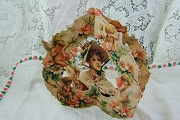 Old-Fashioned 3D Fold-Out Valentine - Woman in Bonnet with Angels