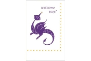 Block Print Note Card: Welcome Baby with Purple Dragon and Austrian Crystal
