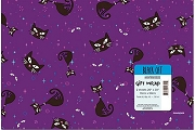 Folded Set of 2 Sheets of Black Cat Wrapping Paper