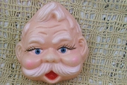 Vintage Male Doll Face with Sparkly Jewel Eyes (Might be Santa!) - UPDATED