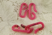 Set of 2 Vintage Pink Distressed Lucite Hooks
