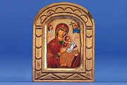 Hand Painted Antique Style Wooden Icon: Our Lady of Perpetual Help