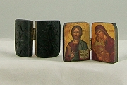 Mini Byzantine Wooden Icon of Jesus and Mary