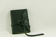 Mini Romano Journal in Black Leather with Wrap-Around Tie