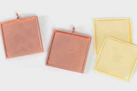 BRIGHT Copper Square Bezel Charm Kit with Self-Stick Acrylic Cabochon
