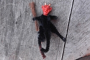 Old-Fashioned Chenille Krampus Devil