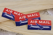 Package of 10 Vintage Dennison Air Mail Labels Featuring an Airplane