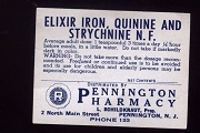 Vintage Elixir Iron, Quinine and Strychnine Label