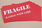Package of 10 Large Vintage Bummed Fragile Handle with Care Labels