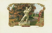 Rare Vintage Cigar Label - Ruhm - Men Struggling for a Crown Statue with Golden Embossed Accents