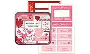 Aluminum Tin of 24 Sheets of Retro Valentine Labels - Lots of Stickers per Sheet