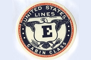 Vintage United States Lines Cabin Class Gummed Luggage Label (Navy)