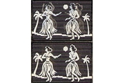 Vintage Lenticular: 1950s/1960s Hula Dancers in Black and White