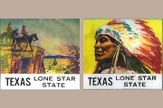 Vintage (Winky) Lenticular (3D) Mid-20th Century Cowboys and Indian Texas Advertisement
