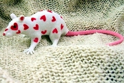 Heart Speckled Love Rat: White with Red Hearts