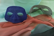 Vintage Fabric Mask - Navy Blue with New Black Elastic