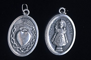 Reversible Sacred Heart and Infant of Prague Oxidized Medal