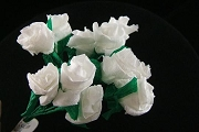 Bouquet of One Dozen WHITE Handmade Mini Paper Roses