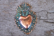 Hand-Made & Patinaed Small COPPER Flaming Heart Milagro