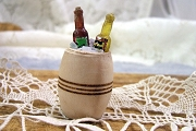 Little Wooden Barrel of Ice with Bottles