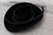 Mini Faux Velvet Black Cowboy Hat With Tie