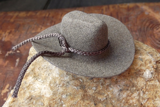 Mini Brown Felt Cowboy Hat With Tie