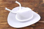 Mini Faux Velvet White Cowboy Hat With Tie