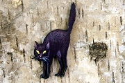 Scary Hallowe'en Black Cat Standing Wooden Motif